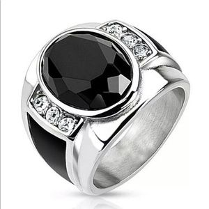 New Men's Fashion 925 Silver Black Sapphire Ring